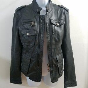 YFB black moto leather jacket